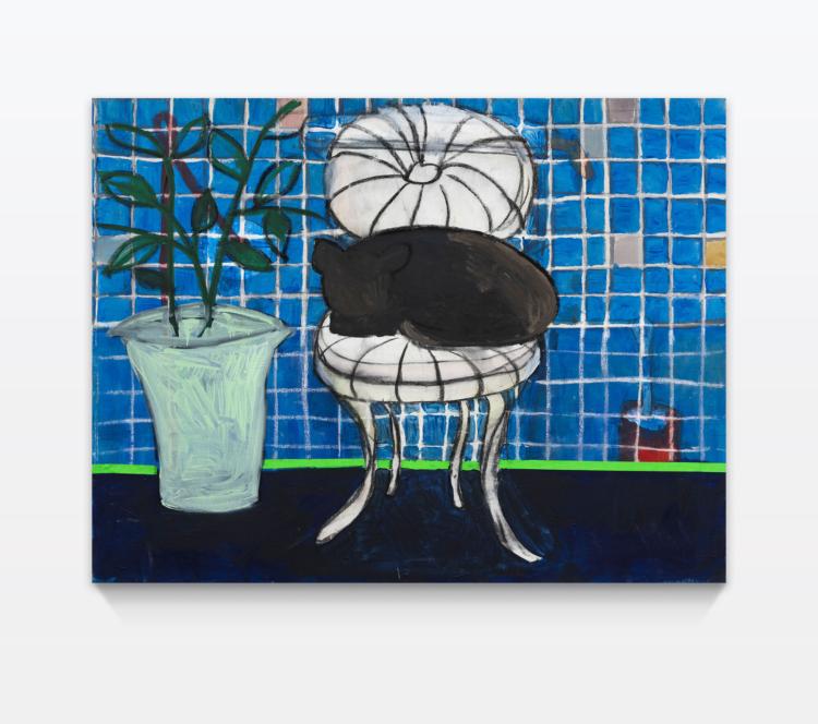 Zahel esther katze auf stuhl neben pflanze vor glaswand hinter klo gregor hildebrandt muenchen